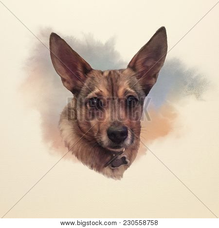 Portrait Of A Mini Corgi Dog. Cute Puppy On The Watercolor Background. Watercolor Animal Art Collect