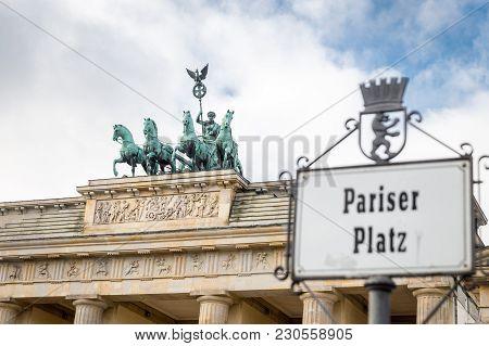 Brandenburg Gate And Quadriga In Berlin City, Germany