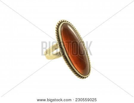 Female Silver Ring, Adorned With Amber Isolated On White