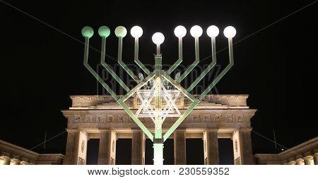 Menorah During Hanukkah In Pariser Platz, Berlin, Germany