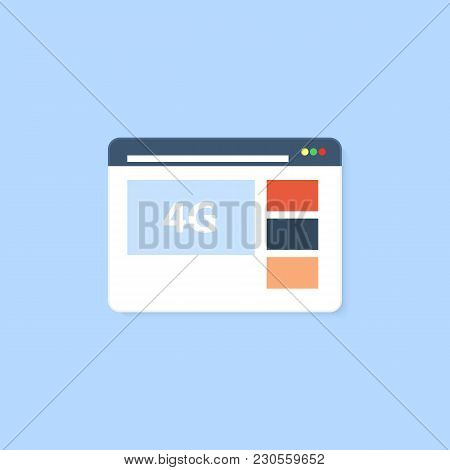 Web Browser With The Option To Connect 4g Internet. Vector Illustration .
