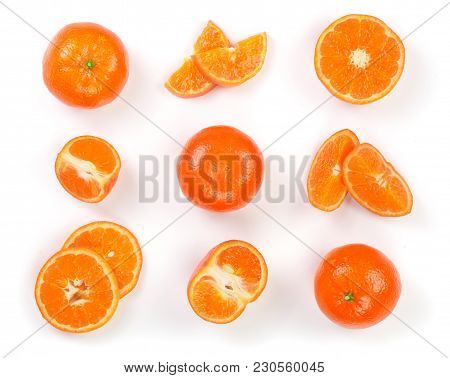 Mandarin, Tangerine Citrus Fruit Isolated On White Background. Top View. Flat Lay.