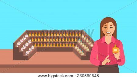 Perfumer Near A Perfume Organ. Young Woman Holding Spray With New Custom Made Aroma Composition Near