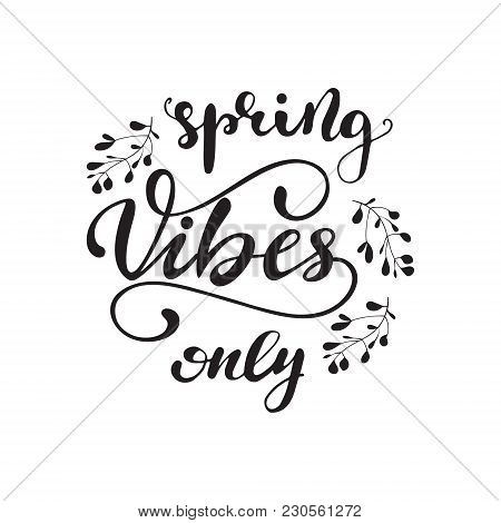 Vector Illustration With Lettering Spring Vibes Only.