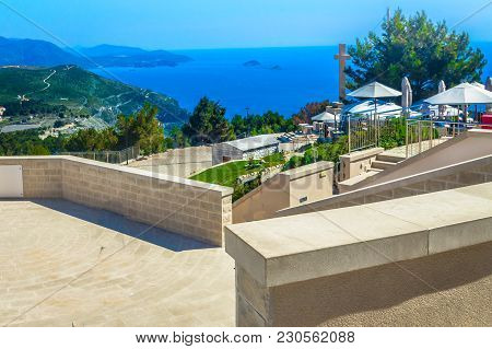 Aerial View At Adriatic Coast From Viewpoint Over Dubrovnik Town, Srd Mountain.