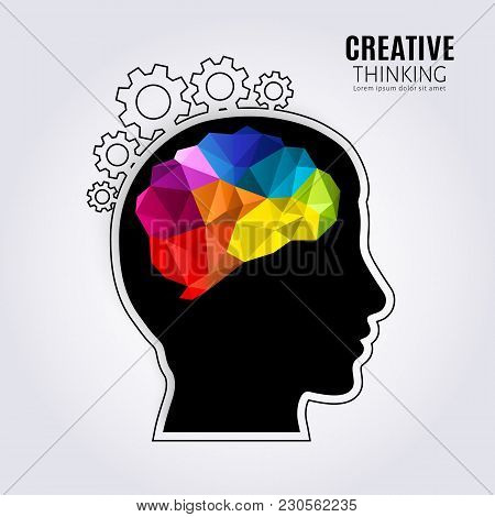 Creative Mind. Concept Of The Human Brain Inside Black Head Profile And One Line Forming Cogwheels.