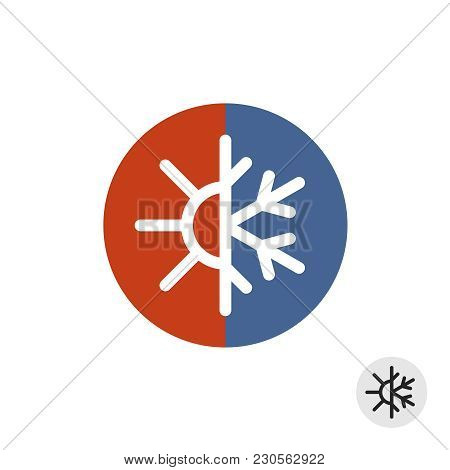 Hot And Cold Round Sign. Temperature Balance Icon. Sun And Snowflake Line Style Symbols With Red And