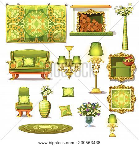 Vintage Interior Room In Green. Trendy Furniture And Accessories. Vector Illustration.
