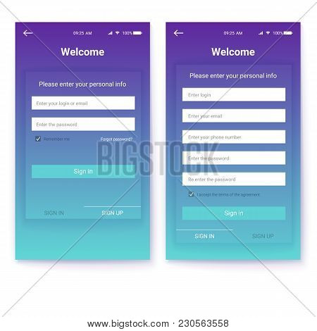 Ui Design, Account Authorization Or Register, Interface For Touchscreen Mobile Apps. Entrance Via Lo