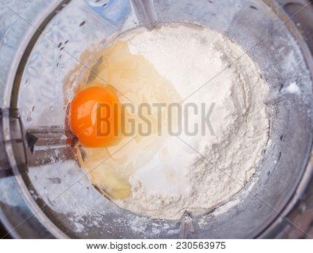 Egg, Flour, Sugar - Dough In Mixer