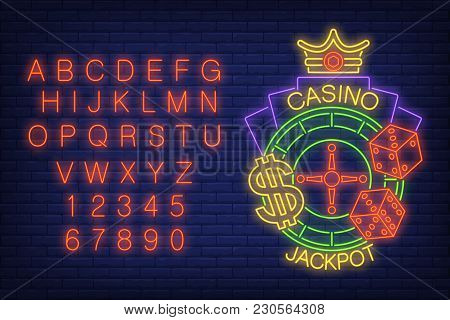Casino Jackpot Neon Sign. Glowing Neon Bar Alphabet And Numbers. Roulette With Dollar Sign, Dice And