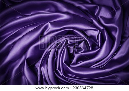 Silk Cloth Swirl Spiral Background, Purple Swirled Fabric Knot, Abstract Satin Drapes