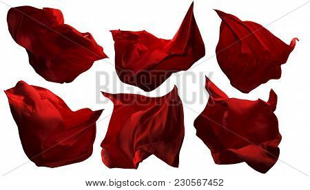 Red Flying Fabric Pieces, Flowing Waving Cloth, Shine Satin Clothes Drapes, Isolated On White Backgr