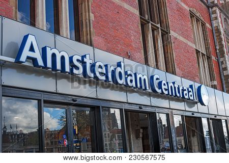 Amsterdam, Netherlands, April 18, 2017: Entrance To Amsterdam Central Railway Station. Amsterdam Cen