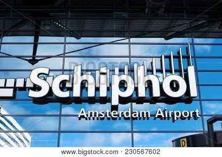 Amsterdam, Netherlands, April 18, 2017: Entrance To Amsterdam Airport Schiphol Netherlands. Amsterda