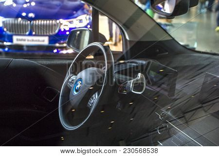 Munich, Germany - November 1, 2017: Steering Wheel And Salon Of Electric Bmw I3 Is Presented On Exhi