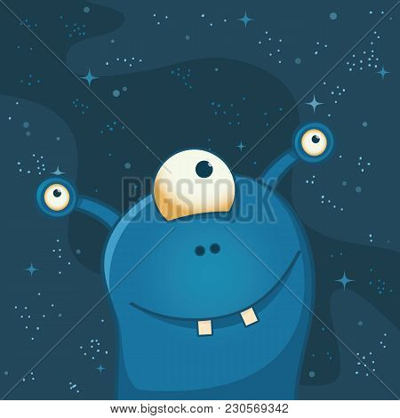 Cute And Happy Alien With Three Eyes. Deep Space Behind Him. Funny Cartoon Illustration.