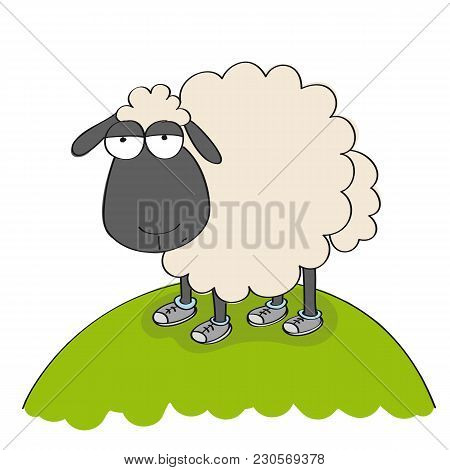 Dull Sheep In Shoes, Standing On The Hill And Looking Stupid - Original Hand Drawn Funny Cartoon Ill