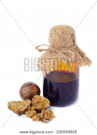 Medical Preparations Bee Propolis. Apitherapy. Isolated On White Background. Bee Glue. Bee Products.