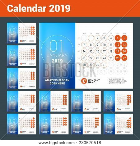 Esk Calendar For 2019 Year. Set Of 12 Pages. Vector Design Print Template With Place For Photo. Week