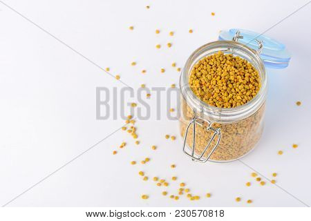 Flower Pollen In A Glass Jar. Natural Remedy For Immunity Enhancement. Beekeeping Products. Apithera
