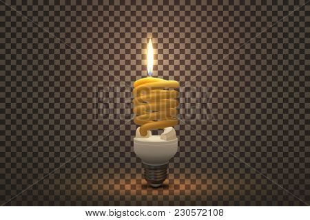 Vector Illustration For Your Design. Fluorescent Lamp In The Form Of A Candle Lighting On Transparen