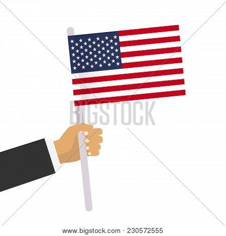 Man Holds Usa Flag. Hand Holding Flag. Vector Stock.