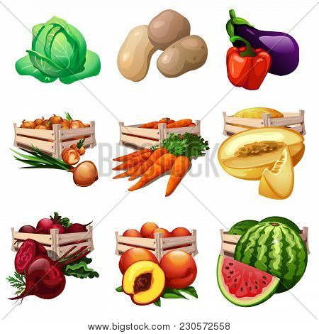 Set Of Fruits And Vegetables In Wooden Boxes. Vector Illustration.