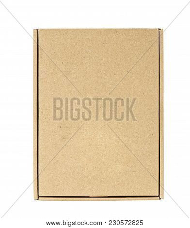 Cardboard Box To Send, Top View, Isolated, White Background, Place For Text,