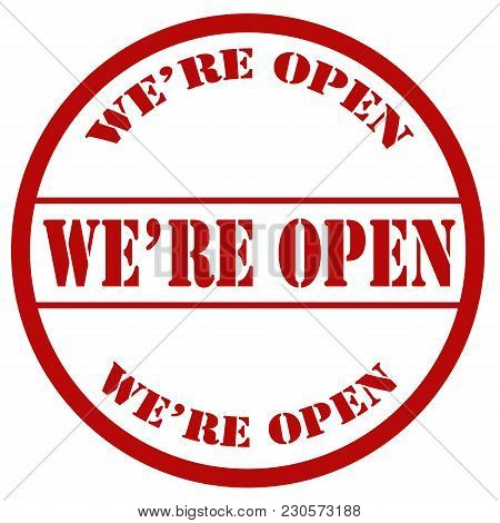 We're Open-red Stamp