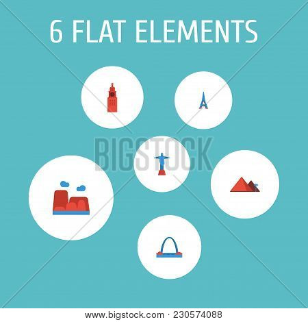 Set Of Famous Icons Flat Style Symbols With Canyon, Eiffel Tower, Kremlin And Other Icons For Your W