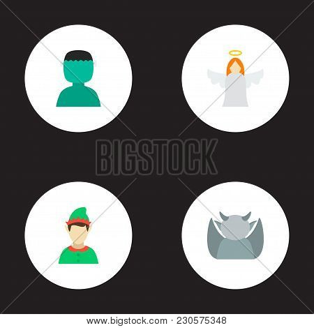 Set Of Cartoon Icons Flat Style Symbols With Gargoyle, Gnome, Angel And Other Icons For Your Web Mob