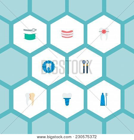 Set Of Enamel Icons Flat Style Symbols With Reconstruction, Alignment, Mirror With Probe And Other I