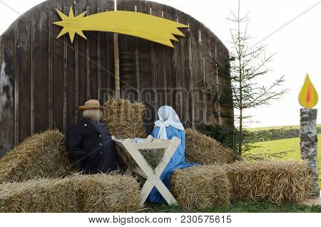 Nativity Scene With Life-size Figures In The Open Air As An Old Custom