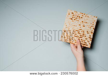 Traditional Jewish Holiday Pesach. Traditional Jewish Festive Food Matza. Spring Holiday Pesah. Plac
