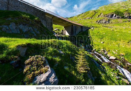 Bridge Over The Brook In Mountains. Beautiful Transportation Scenery In Summer Landscape. Location T