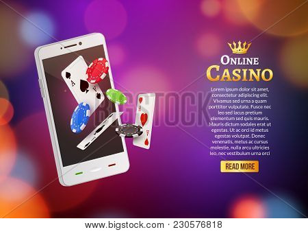 Jackpot Money Smart Phone Coins Big Win. Big Income Earn Mobile Technology Banner Poster.