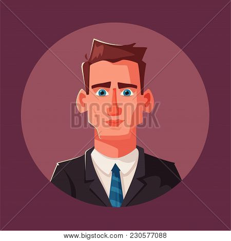Successful, Happy Businessman In A Suit. Cartoon Vector Illustration. Funny Character With Coffee