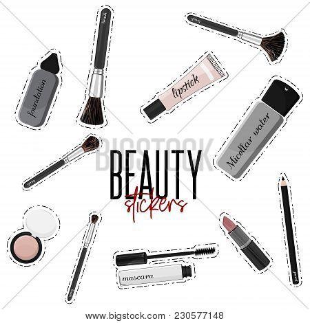 Vector Make-up Essentials Mascara, Lipgloss, Lipstick, Set Of Brushes, Foundation, Blush, Liner. Bea