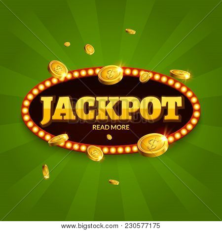 Jackpot Gambling Retro Banner Decoration. Business Jackpot Decoration. Winner Sign Lucky Symbol Temp
