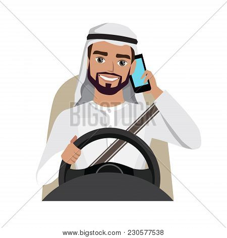 Man Driving A Car Talking On The Phone. Vector Cartoon Character