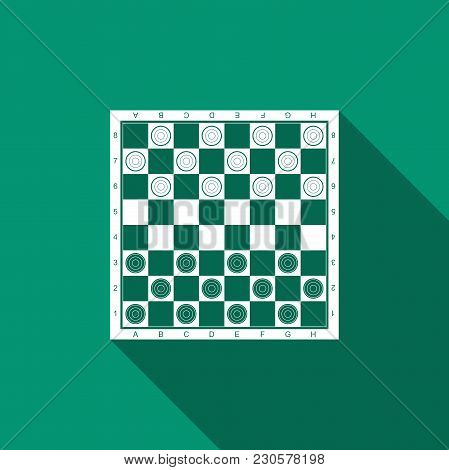 Board Game Of Checkers Icon Isolated With Long Shadow. Ancient Intellectual Board Game. Chess Board.