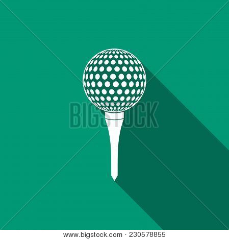 Golf Ball On Tee Icon Isolated With Long Shadow. Flat Design. Vector Illustration