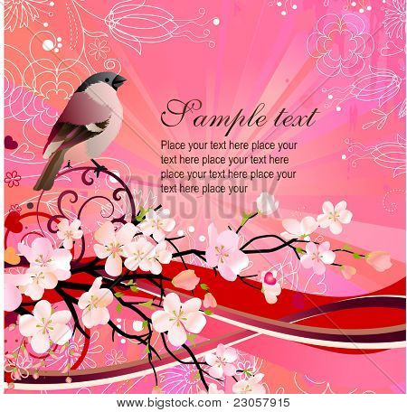 Greeting card with blossoming tree and bird