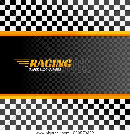 Racing Background With Race Flag, Vector Sport Design Banner Or Poster.