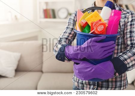 Unrecognizable Woman With Cleaning Equipment Ready To Clean House. Professional Cleaning Service Con