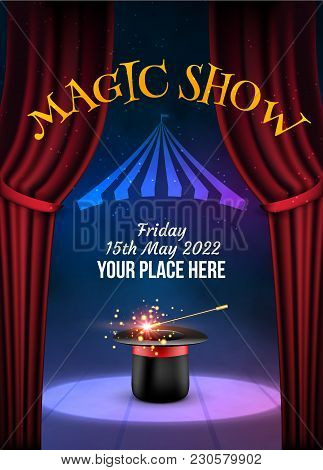 Magic Show Poster Design Template. Illusion Magical Vector Background. Theater Magician Flyer With H