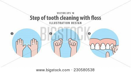 Step Of Tooth Cleaning With Floss Illustration Vector On Blue Background. Dental Concept.