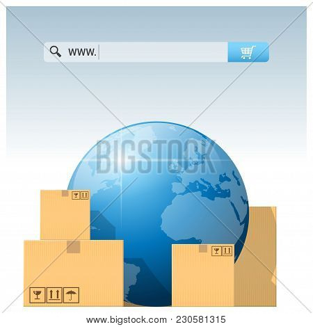 E-commerce Concept With Address Bar Above Cardboard Boxes And Globe , Vector , Illustration