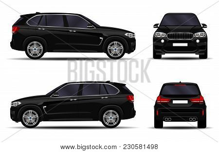 Realistic Suv Car. Front View; Side View; Back View.